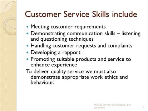 provide services to colleagues and customers ppt