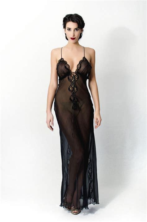Lingerin Black his a beautiful semi see through length nightgown