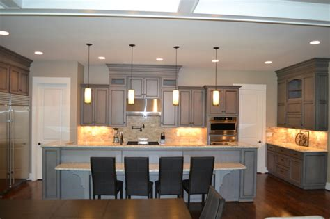 Gray Stained Cabinets With Black Glaze Richmond By Kitchen Cabinets Painted Light Gray