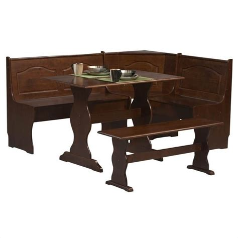 Nook Dining Table Set Linon Chelsea Nook Table Bench Walnut Dining Set Ebay