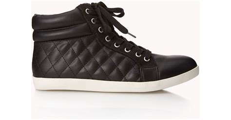 Quilted Boots Forever 21 by Forever 21 Quilted Faux Leather Sneakers In Black Lyst