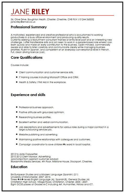 skills cv exle uk cv exle with transferable skills myperfectcv