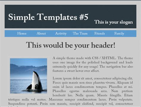 Simple Html Page Template simple website template 1