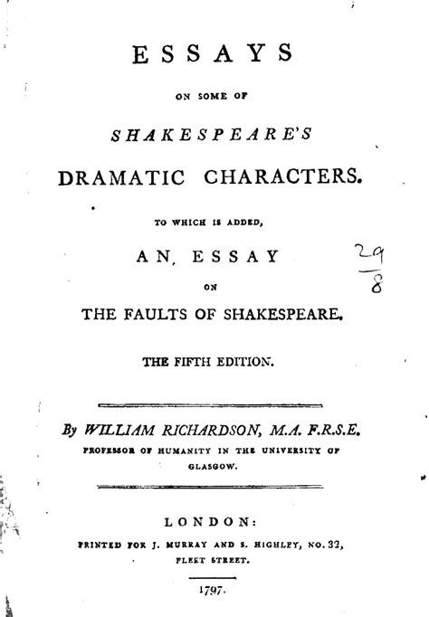 80s Essay by Exle 80 Essays On Some Of Shakespeare S Dramatic Characters 171 Dcrm B Exles