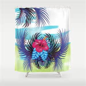hibiscus shower curtain tropical shower curtain rustic by