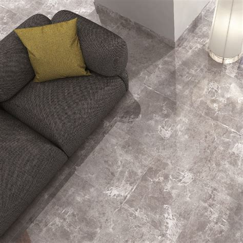Marble effect floor tiles in a stunning cool modern grey