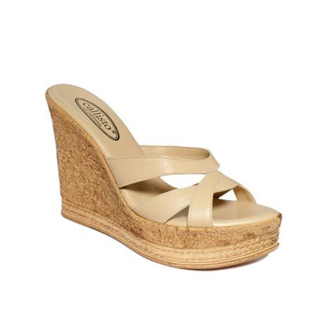 callisto shoes callisto esther wedge sandals in beige camel lyst