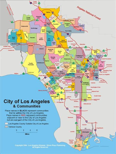 map of the united states los angeles map of l a neighborhoods called united states of