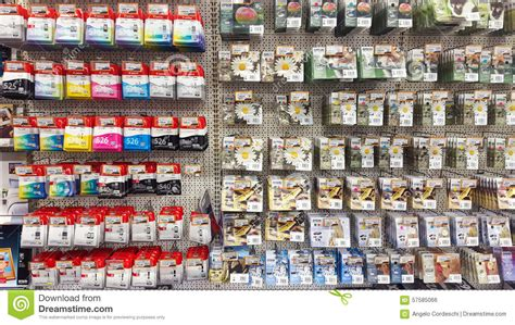 Toner The Shop wall with printer cartridges ink cartridge rack