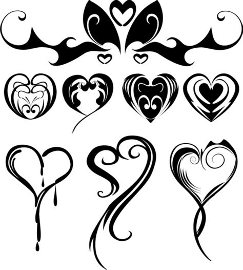 heart shaped tattoos designs shaped tattoos free vector in adobe illustrator ai