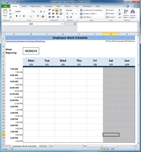 Free Employee And Shift Schedule Templates 2 Week Employee Work Schedule Template