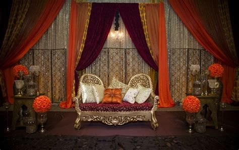 Fall theme stage decor   Indian Engagement Ceremony