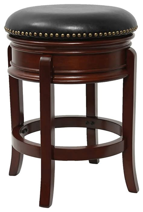 Cherry Backless Counter Stools by 24 Quot Backless Cherry Wood Counter Height Stool With Swivel