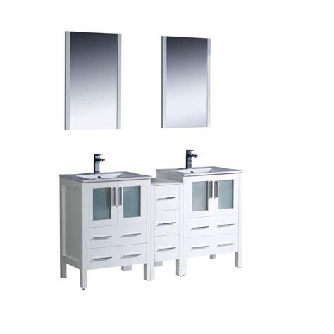 vanity with side cabinet fresca torino 60 inch white modern sink bathroom