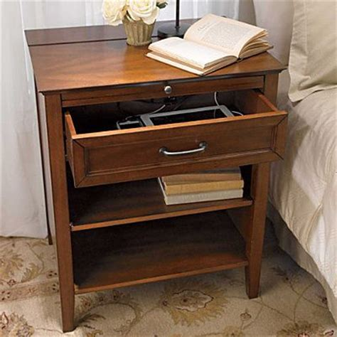 charging station table side table with charging station quot the roomy drawer connects to a special hidden compartment for