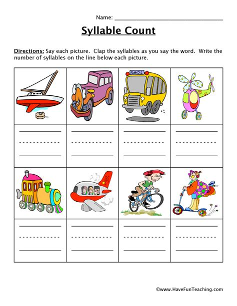 Syllables Worksheets by Syllable Worksheet 7