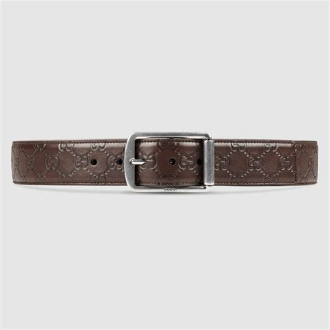 gucci ssima leather belt with rectangular buckle in brown