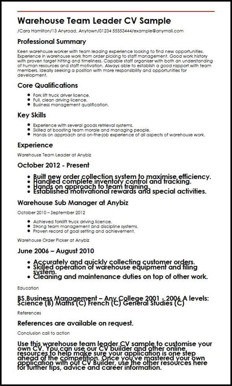 team lead resume leader example management examples facility