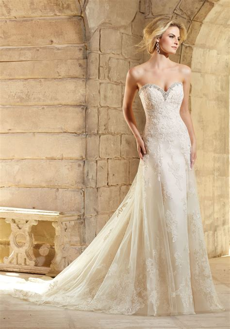 crystal beading on net and lace wedding dress style 2774