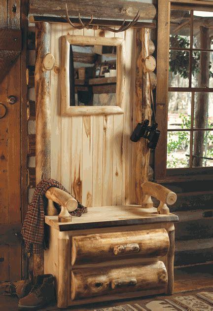 aspen log furniture log hall tree with antlersblack