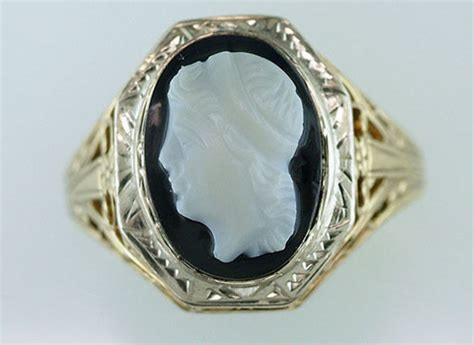 vintage antique onyx cameo yellow white gold deco