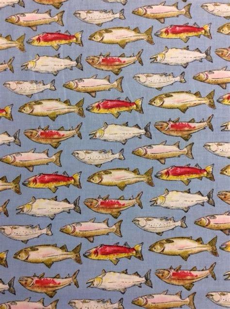 Fishing Quilt Fabric fishing trails salmon fish fishing cotton fabric quilt
