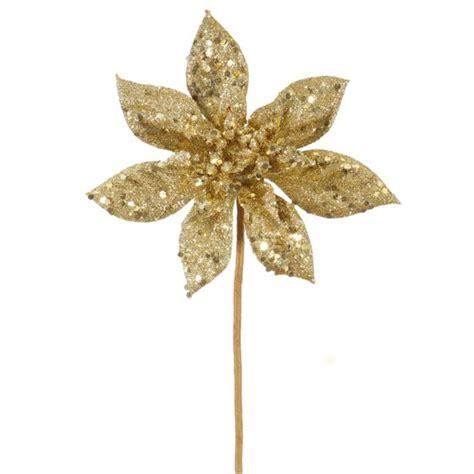 hessian gold poinsettia picks 11 quot gold glitter poinsettia flower artificial spray walmart