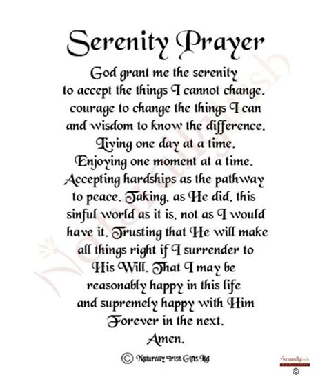 Printable Version Serenity Prayer | full serenity prayer printable version spiritual board