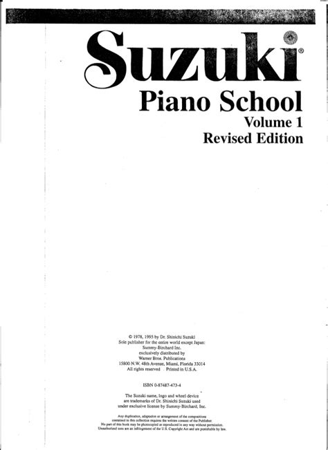 Suzuki Book 1 Piano Metodo Suzuki Piano Volume 1