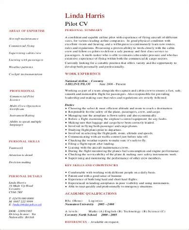 sle pilot resume 6 exles in word pdf