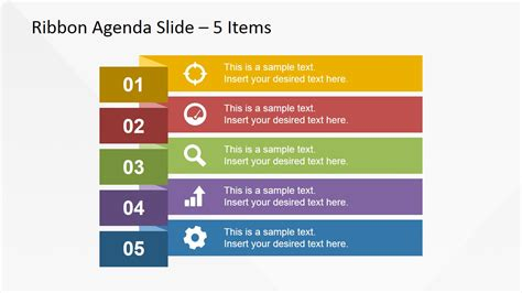 5 items ribbon agenda slide template for powerpoint