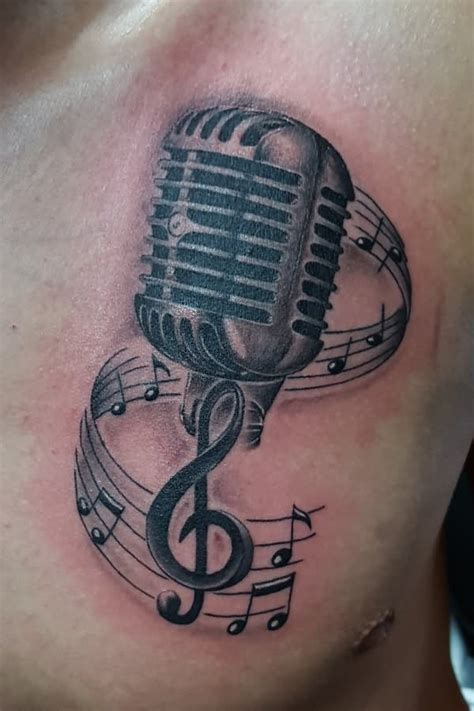 microphone tattoo design 22 microphone and notes