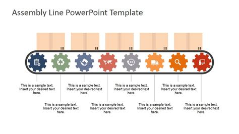 assembly template eight steps conveyor belt powerpoint shapes for powerpoint