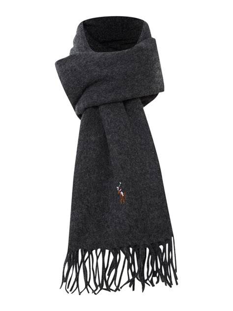polo ralph lambswool scarf in gray for lyst