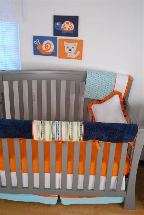 navy and orange bedding navy aqua orange crib bedding with stripes diamond