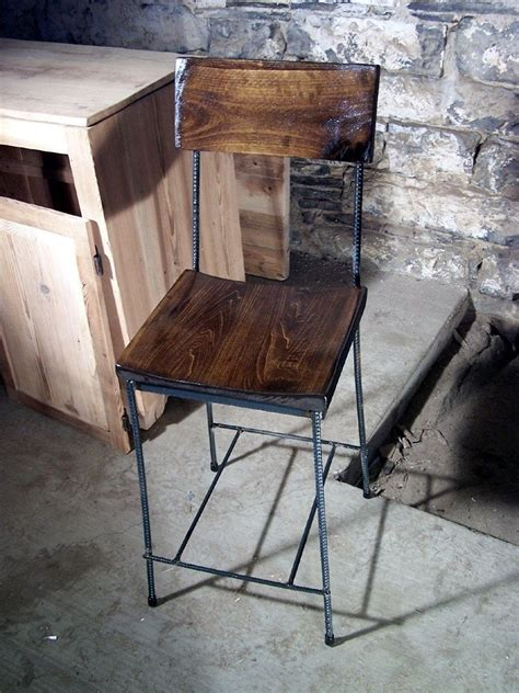 buy hand crafted urban elegance scooped seat rebar  reclaimed wood bar stools   order