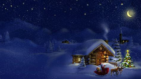 merry christmas  happy  year village santa sleigh  reindeer gifts  children sky