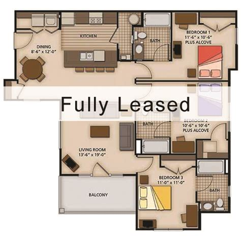 4 Bedroom Apartment Floor Plans by 2 3 And 4 Bedroom Apartment Floor Plans Capstone Quarters
