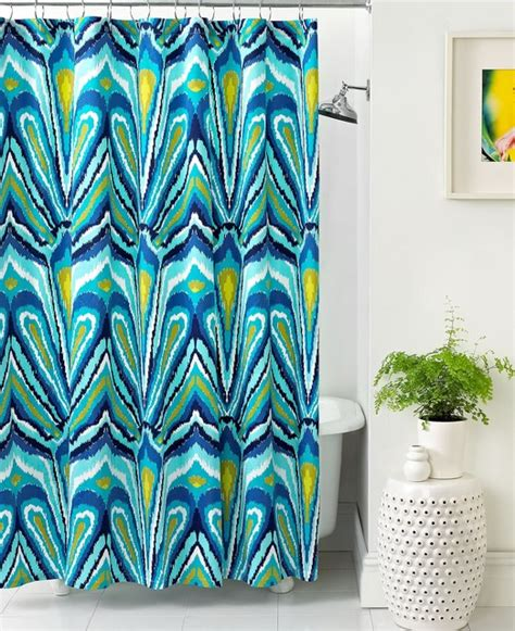 fabric shower curtains macy s trina turk bath blue peacock shower curtain eclectic