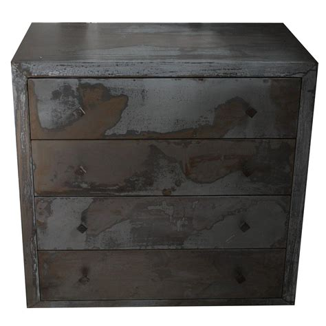 acid washed 1990s metal wrapped beechwood chest of drawers