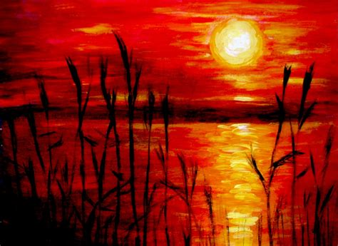 acrylic paint sunset abstract painting wallpapers background ideas images