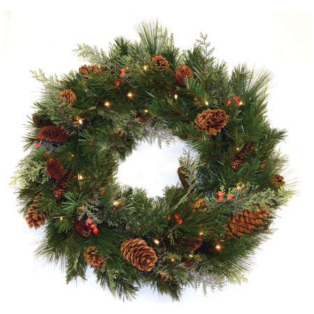 walmart pre lit wreath with battery and timer 30 in white pine pre lit led wreath battery operated walmart