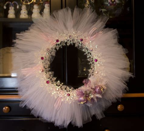 tulle craft projects wreath made with tulle gemstones ribbon
