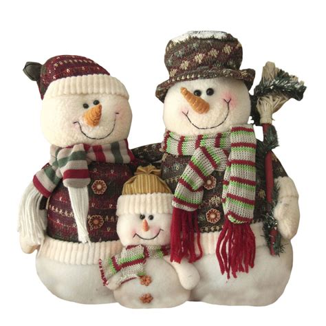 plush snowman or santa christmas family tabletop