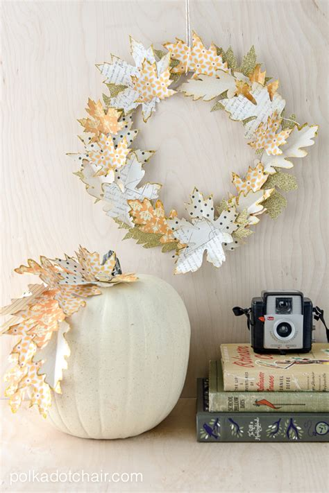 Papercraft Decorations - fall leaf wreath tutorial and quot no carve quot pumpkin ideas