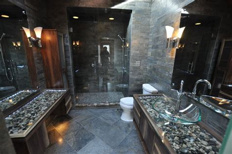 River Rock Bathroom Ideas by Bathrooms Spas And Tile Showers Contemporary