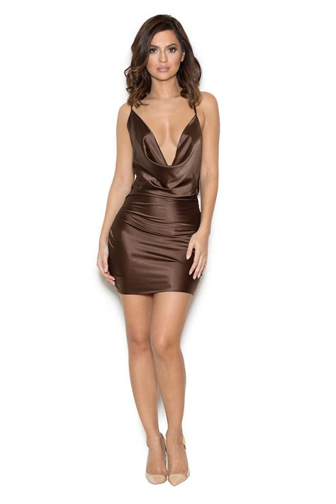 draped satin dress clothing bodycon dresses aitana chocolate brown