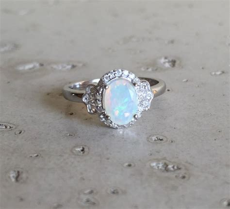 deco engagement ring opal ring promise ring wedding