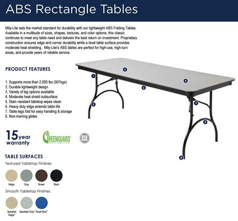 mity lite folding tables mity lite abs plastic table colors and leg options