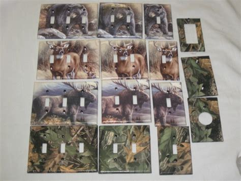 hunting home decor realtree camo bear deer moose light switch plate cover